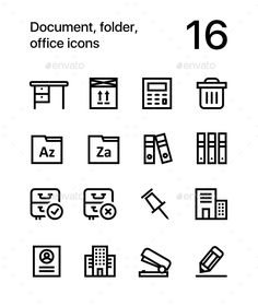 Document, Folder, Office Icons for Web and Mobile Design Pack 3
