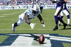 Andre Johnson #81 of the Tennessee Titans drops a pass in the end zone during the first half of a game against the Minnesota Vikings at Nissan Stadium on Sept. 11, 2016 in Nashville.