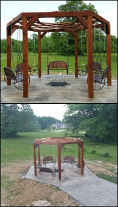 Enjoy Your Outdoor Area by Building This Hexagonal Swing with Sunken Fire Pit backyard design diy ideas Fire Pit Swings, Diy Fire Pit, Fire Pit Backyard, Porch Swings, Backyard Seating, Fire Pit Gallery, Sunken Fire Pits, Fire Pit Essentials, Outside Fire Pits