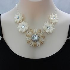 Ivory Necklace Beige and Ivory Necklace by PetalPerceptions, $24.00