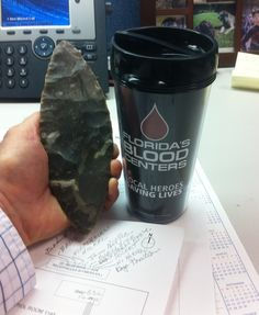 """Blade I keep at work as a """"demo"""" for when asked about flintknapping. --"""
