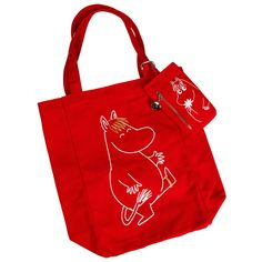 A pretty red Snorkmaiden textile shopping bag. The bag is 32x34 cm and the package includes a cellphone case sized 15x8cm.