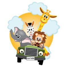 giraffe, elephant, zebra and lion driving green car - vector illustration by Anikakodydkova, via Shutterstock Safari Png, Safari Jeep, Cartoon Baby Animals, Jungle Animals, Safari Party, Safari Theme, African Safari, Giraffe, Jungles