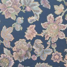 Vintage Cotton Occidental tapestry in Blue Lavender by FabricCult