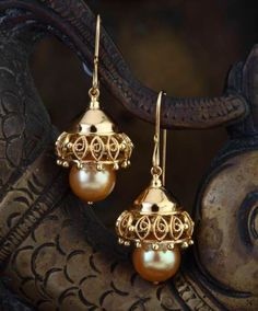 Filigre Encased South Sea Jhumki - Delicate filigree work handcrafted in 18 k gold encases these precious golden pearls of the south sea variety.