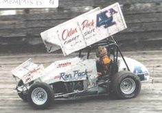Bobby Davis, Jr. World of Outlaws Odis Pack Carpet (Little Rock) sponsored car at West Memphis, AR 1985