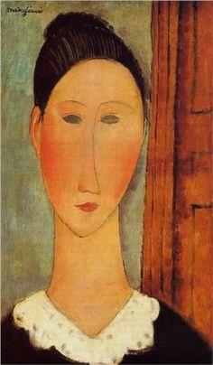 Amedeo Modigliani (1884 -1920) | Expressionism | Head of a Girl - 1918