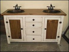Country Bathroom Cabinets | Country Bathroom Vanity: Antique White Pine  Double Copper Sink Vanity .