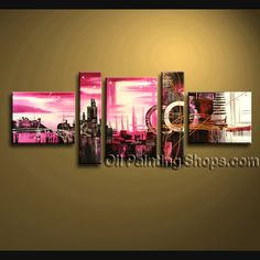 Enchanting Modern Abstract Painting Oil Painting On Canvas For Bed Room Abstract. This 5 panels canvas wall art is hand painted by Bo Yi Art Studio, instock - $175. To see more, visit OilPaintingShops.com