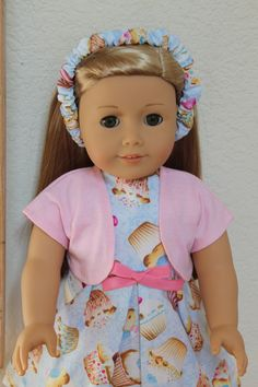 American Girl Doll Cupcake Dress with Shrug fits most other 18 inch dolls by Sariahsdollcloset on Etsy