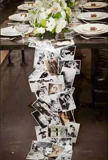 """We really like the idea of using family photos as a table runner—it's entertaining to your guests and is a great way to tie in your roots."" Can we say ""obsessed""? Love, love, love this idea! (Just be sure to make copies of all photos used in case of any spills ;)"