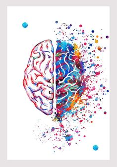 Right Brain Left Brain Watercolor Print Brain Art Poster Right Brain, Brain Art, Watercolor Print, Letter Designs, Psicologia
