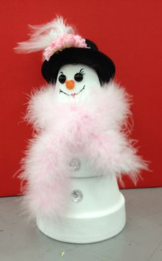 Snow Girl Clay Pot designed by Beckie B., A.C. Moore Clay, NY #claypot #christmas