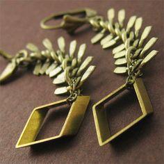 Get the TV stylist's choice! #asseenon Bronze Diamond Earrings Geometric Jewelry @pinkixxjewelry Get details here >>> https://www.etsy.com/listing/213114226/bronze-diamond-earrings-geometric
