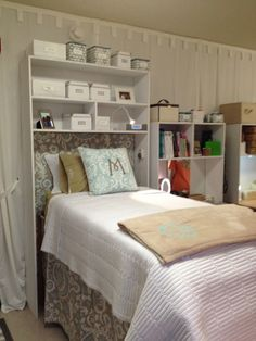 Bed Cubbies - make more space in your room using the spot above the bed!