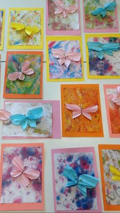 Butterflycard marmorointi+ perhonen Crafts For Kids, Diy Crafts, Elementary Art, Projects To Try, Gallery Wall, Spring, Frame, Cards, Painting
