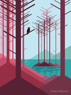 The guardian of the forest by Roland Bánrévi. Vector illustration / art print / tshirt / apparel / homedecor of landscape with owl, lake, mountains and barren trees. In reds and blues.