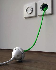 Extension cord built in to the wall--