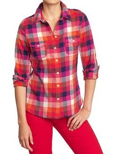 Women's Plaid Flannel Shirts | Old Navy - Orange Multi Plaid $25. Would look great with camel or navy pencil skirt.