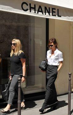 black maxi skirt + white shirt (victoria beckham)