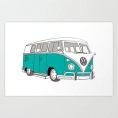 Blue Volkswagen Camper Van (Landscape) (Kombi / VW) Art Print by bluebutton studio - $17.68