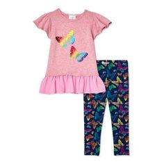 Butterfly Top, Butterfly Print, 2 Piece Outfits, Pink Outfits, Tops For Leggings, Printed Leggings, Gender Female, Toddler Girl, Road Trip