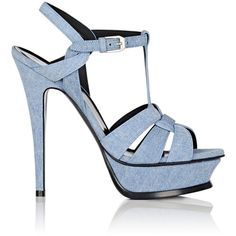 Saint Laurent Women's Tribute Denim Platform Sandals (1,285 CAD) ❤ liked on Polyvore featuring shoes, sandals, heels, blue, strappy sandals, strappy high heel sandals, strappy heeled sandals, buckle strap sandals and blue sandals