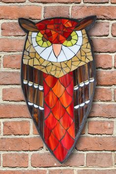 Learn the art of Stained Glass Mosaics! Sign up for the Online Class via www.kasiamosaicsclasses.com  Student Work from a Kasia Mosaics Stained Glass Mosaic Owl Workshop - Owl Mosaic by Roxy.
