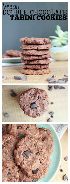 Vegan Double Chocolate Tahini Cookies Collage