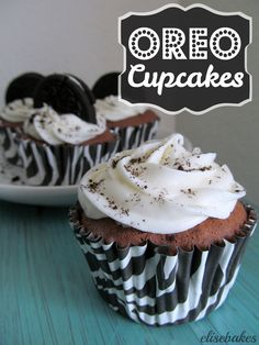 Oreo Cupcakes with Marshmallow Frosting - an Oreo baked into the bottom of these chocolate cupcakes is the perfect surprise!