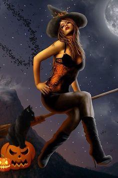 Fantasy Witch, Witch Art, Dark Fantasy Art, Fantasy Artwork, Halloween Pin Up, Halloween Artwork, Halloween Witches, Vintage Halloween, Witch Pictures