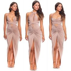 Sweet Love Dress in Nude by SCK ✔️✔️✔️ Can be styled up to 12 different ways & also available in red || Shop it now at www.meshki.com.au