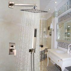 Rozin® Wall Mount Bathroom Shower Facuet Set 10-inch Rain Shower Head + Hand Spray Brushed Nickel - - AmazonSmile $126.00