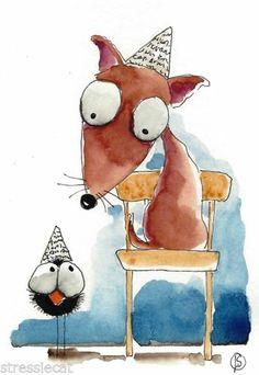 ACEO Original Painting Folk Art Illustration Whimsical Paper Hat Animal Crow Dog | eBay