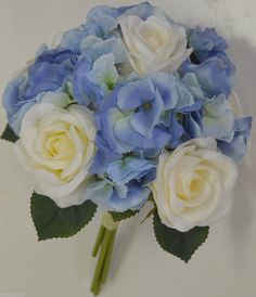 wedding flowers blue hydrangias | SILK WEDDING BOUQUET BOUQUETS FLOWER CREAM WHITE ROSE BLUE HYDRANGEA