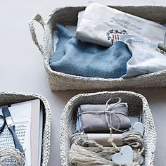 Buy Home Accessories > Laundry & Storage > Jute Nesting Trays - Set of 3 from The White Company