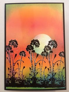 Stampin Up card - Brayer card Sunset.