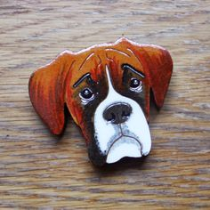 Boxer Dog Face Brooch by RiggiDesign on Etsy, £15.00