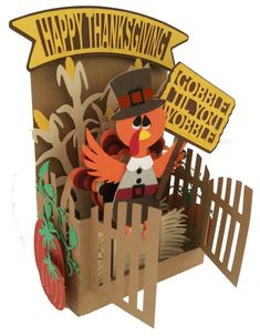 Thanksgiving Fall Card In A Box 3D SVG by MyCasualWhimsy on Etsy