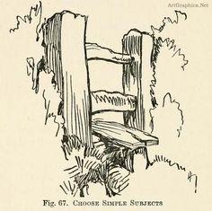 gate sketch, countryside sketching