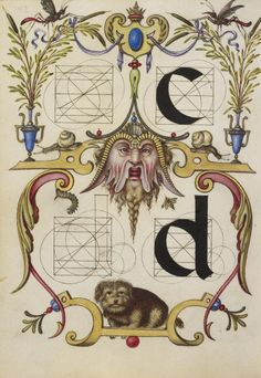 Joris Hoefnagel (illuminator) [Flemish / Hungarian, 1542 - 1600], Guide for Constructing the Letters c and d, Flemish and Hungarian, about 1591 - 1596