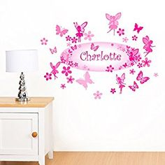 Rubybloom Designs Personalised Fairies, Flowers & Butterflies Girls Name Childrens Wall Stickers Canvas Pictures, Girl Pictures, Girls Bedroom, Bedroom Ideas, Childrens Wall Stickers, Girl Names, Butterflies, Fairy, Canvas Prints