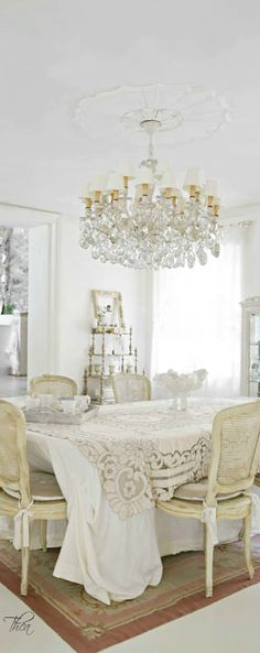 French Flair ● Dining Room ~ shades of white