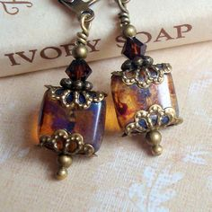 Brown Dangle Earrings , Neo Victorian Jewelry , Antiqued Brass Bronze , Beaded Earrings , Vintage Inspired , Weathered Tiles