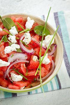 Receita de salada de melancia com queijo de cabra
