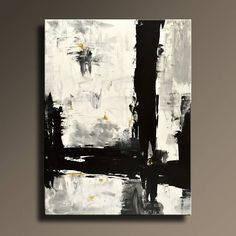 """54"""" Large ORIGINAL ABSTRACT Painting Black White Gray Gold Painting Canvas Art Contemporary Modern Painting Wall Art - Unstretched- AB46i2"""