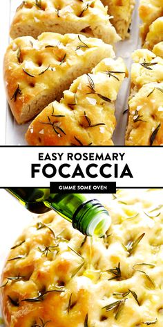This delicious Rosemary Focaccia Bread recipe is super-easy to make, and topped with fresh rosemary, olive oil and flaky sea salt. Focaccia Bread Recipe, Italian Focaccia Recipe, Homemade Focaccia Bread, Homemade Breads, Rosemary Focaccia, Garlic Naan, Gimme Some Oven, Le Diner, Baking Recipes