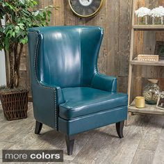 Mayfair 1378-01 Peacock Blue Faux-leather Winged Accent Chair - 18799849 - Overstock.com Shopping - Great Deals on Living Room Chairs
