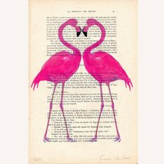 Flamingo heart- ORIGINAL ARTWORK Hand Painted Mixed Media on 1920 famous Parisien Magazine 'La Petit Illustration' by Coco de Paris