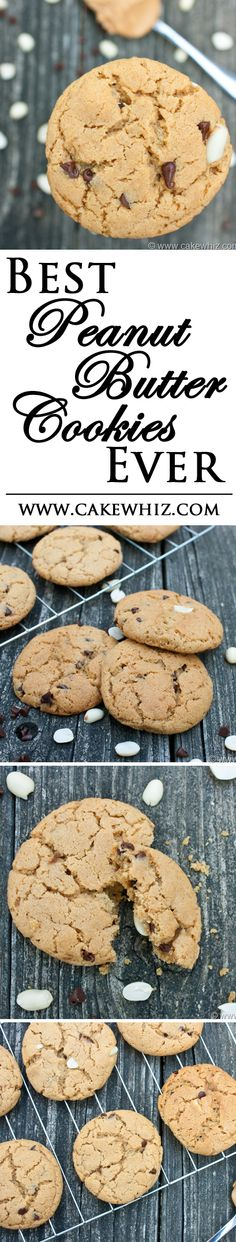 These are the best PEANUT BUTTER CHOCOLATE CHIP COOKIES ever! Soft and chewy and loaded with chocolate chips! From cakewhiz.com